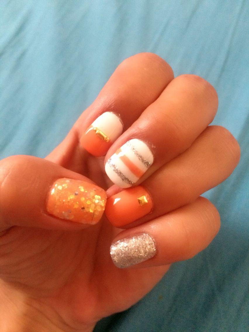 Gel nail design for summer,white,orange,glitter
