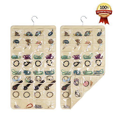 Hanging Jewelry Organizers Realdios 80 Pockets NonWoven Dual