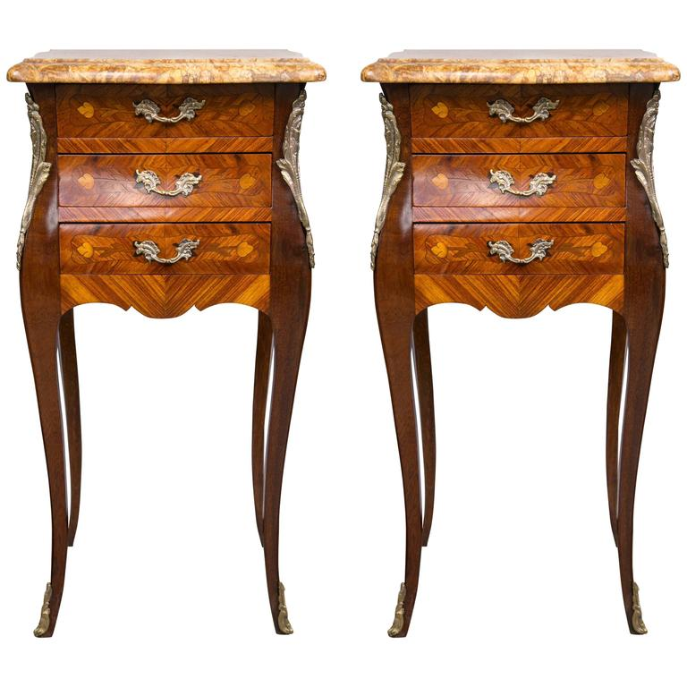 Pair of Marble-Topped Three-Drawer Bedside Tables | From a unique collection of antique and modern end tables at https://www.1stdibs.com/furniture/tables/end-tables/
