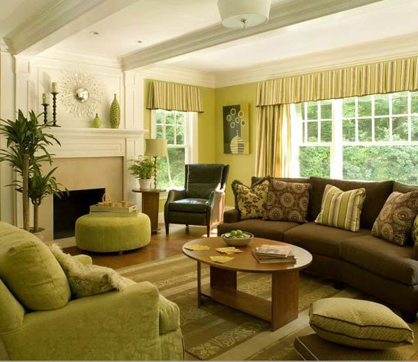 Brown Couch Living Room Design: 28 Green And Brown Decoration Ideas