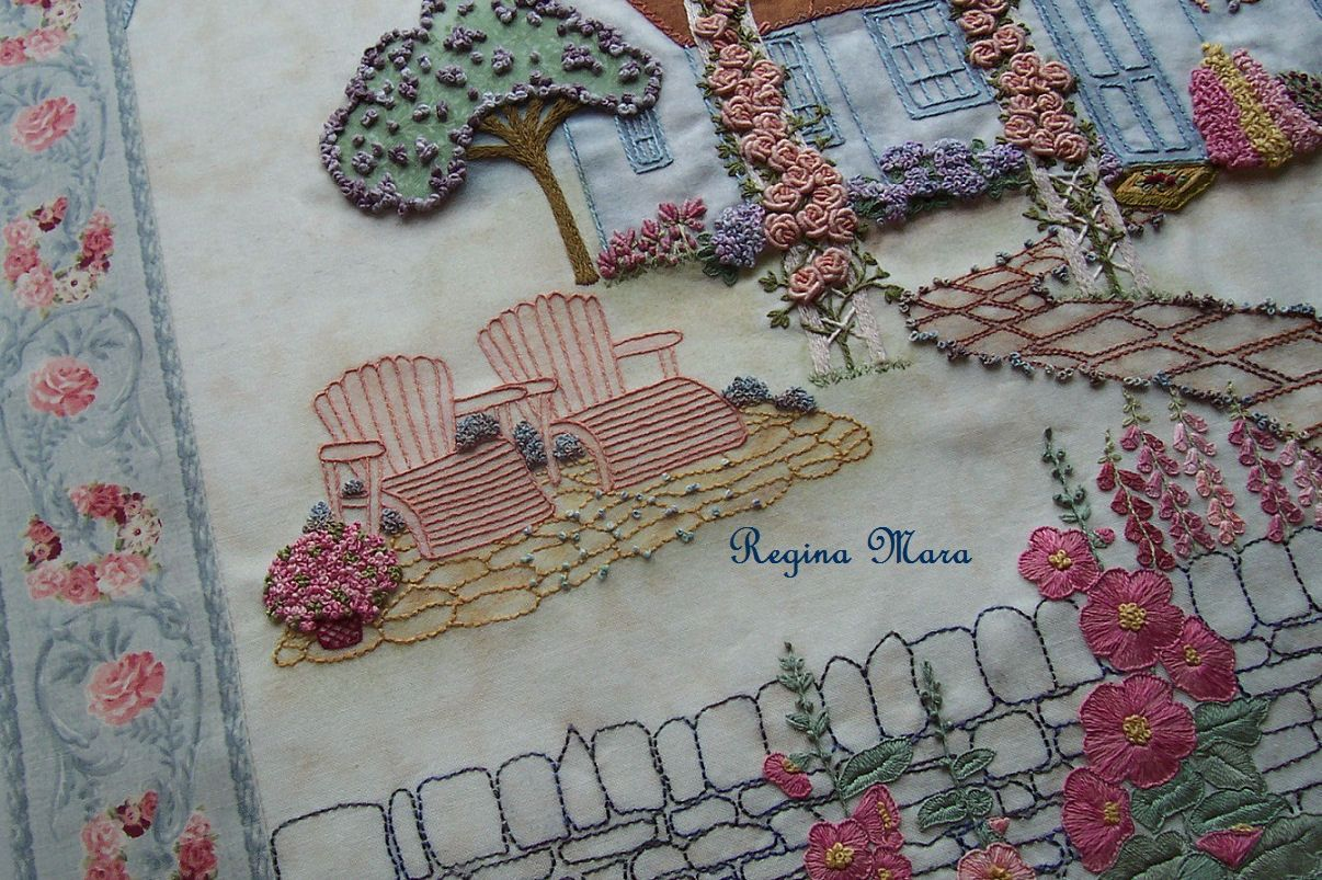 English country garden paintings - An English Country Garden Quilt Block 13 Hollyhock Cottage Side View