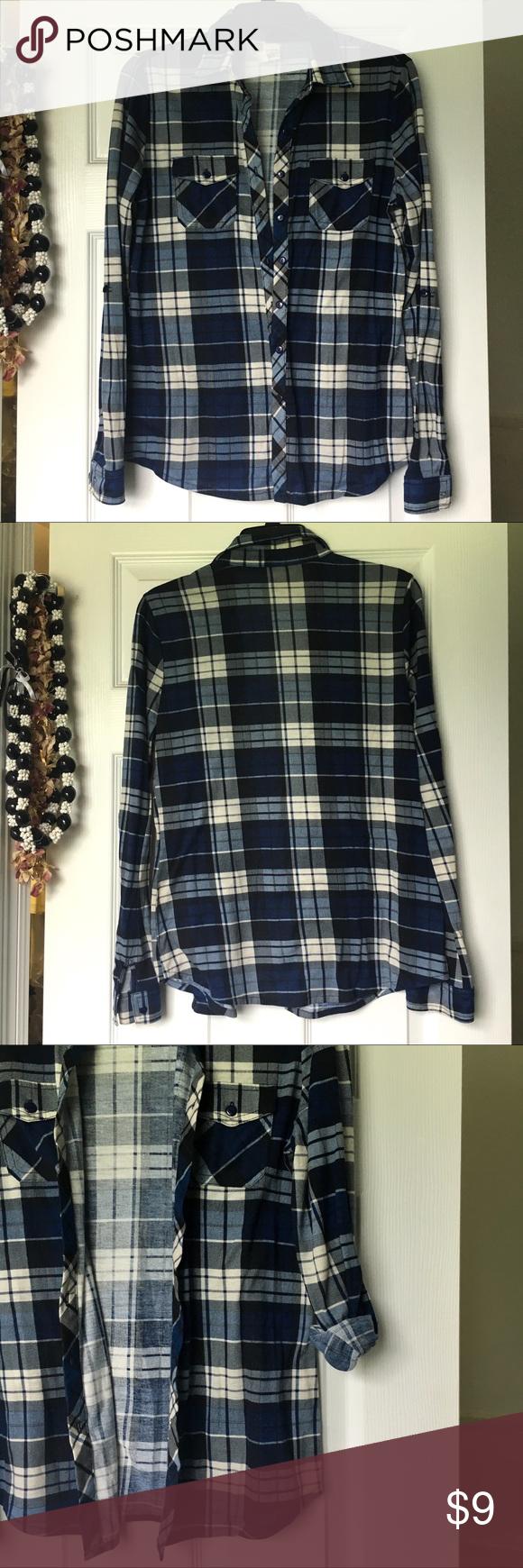 Flannel into dress  Plaid Flannel Blue M