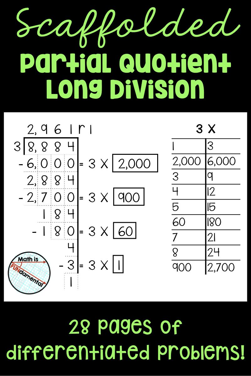 Scaffolded Partial Quotient Long Division Practice Packet - 28 worksheet  pages   Division practice [ 1200 x 800 Pixel ]