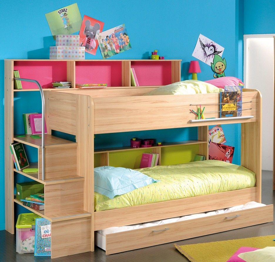 Bedroom. natural unfinished wooden trundle bunk bed with stair book ...