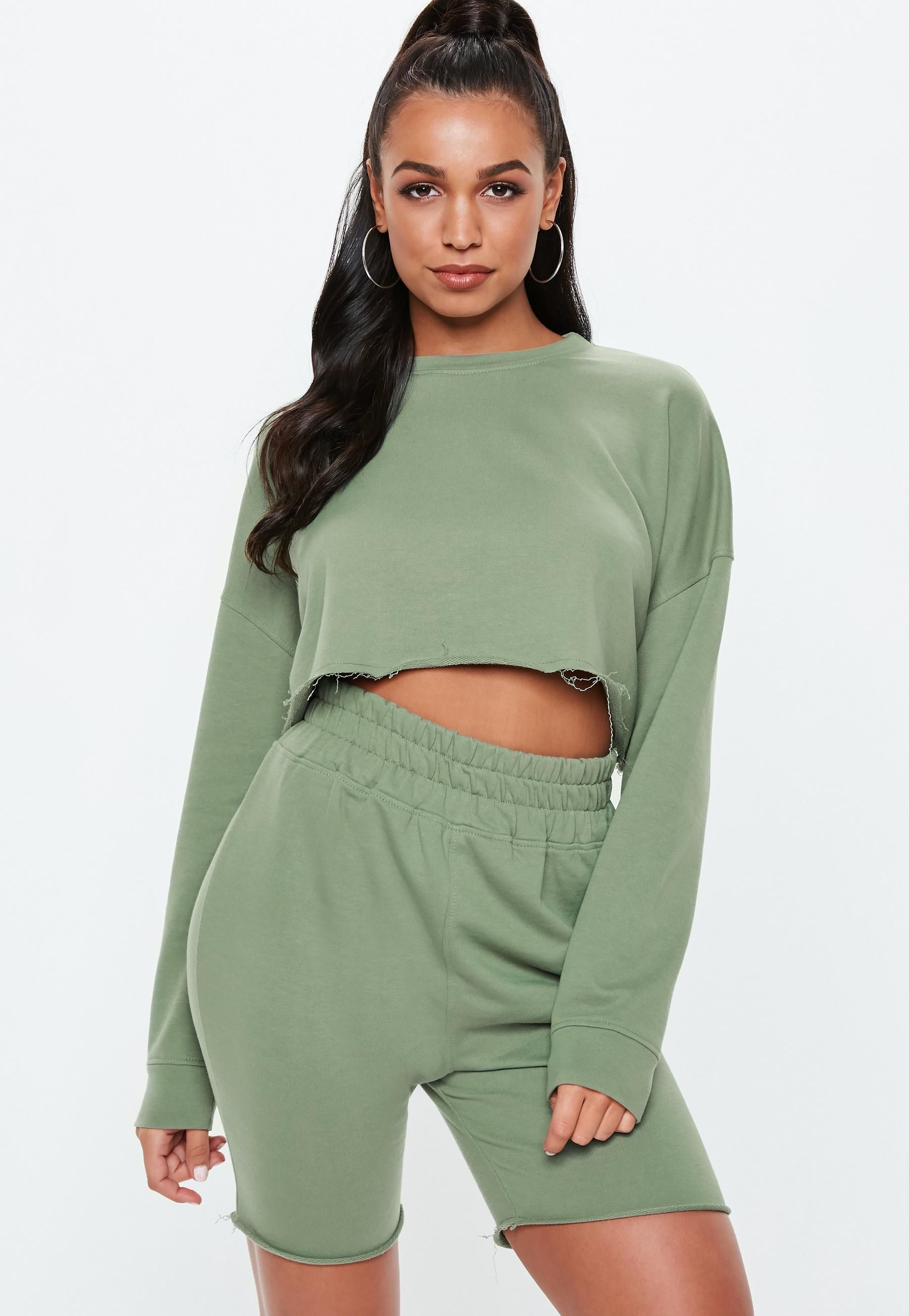 60e917f6494 Sage Cropped Sweater Cycling Shorts Set | Missguided | Tops - Miss ...