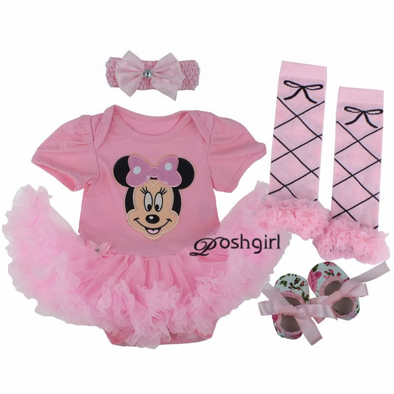 fac4981ccd7 Gowns Baby Rompers Baby Girl s Minnie Mickey Dress Bodysuit Lace 4pcs sets  2017 New Born Autumn