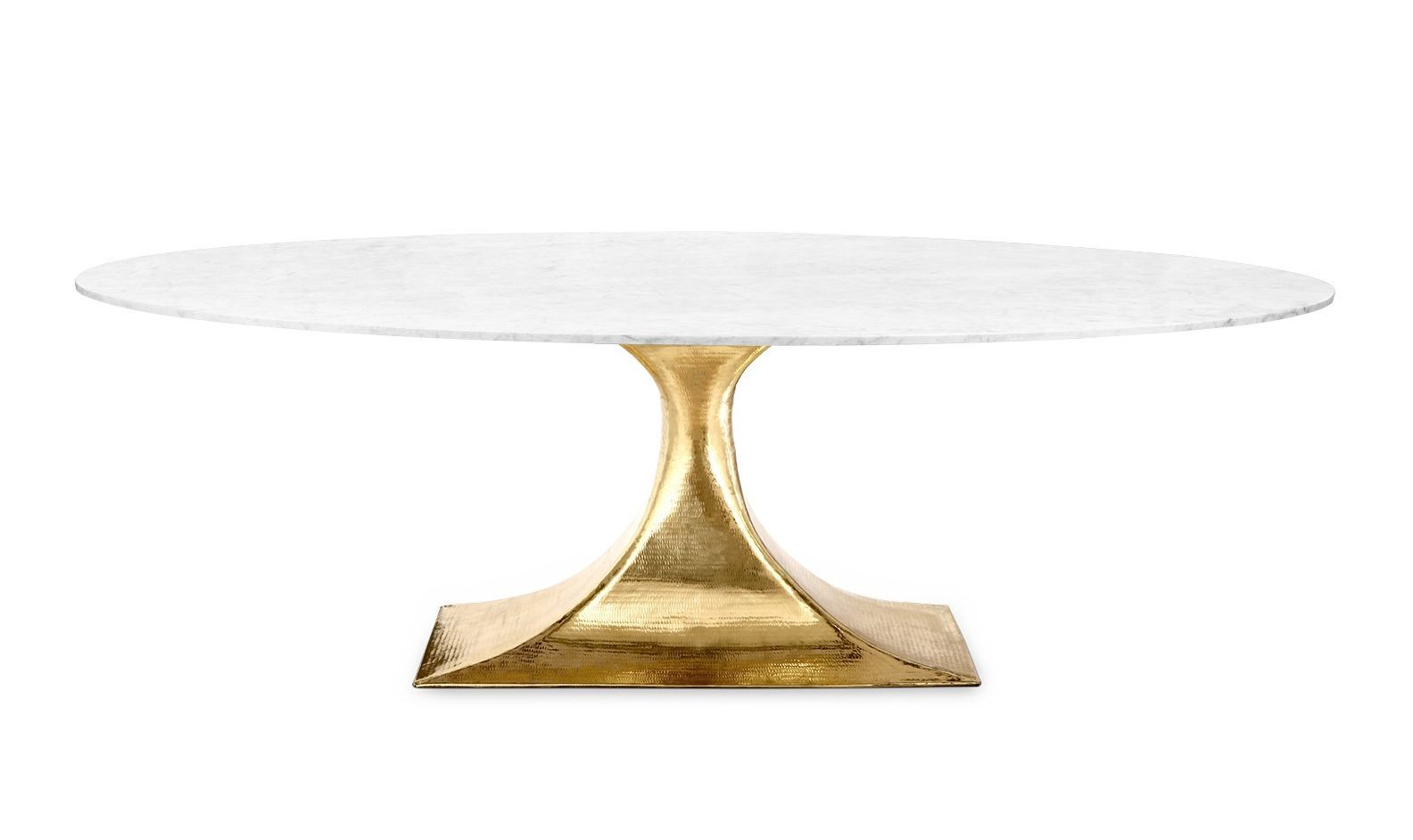 Oval Stone Top Dining Table With Hammered Metal Base Dining