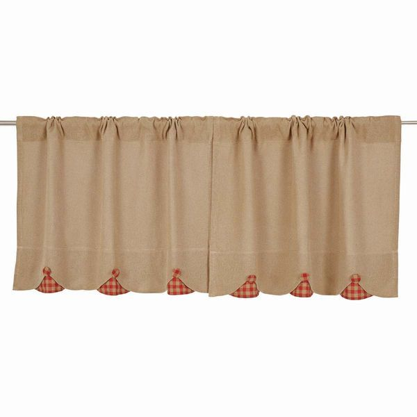 """Burlap with Red Check Tier Curtains 24"""""""