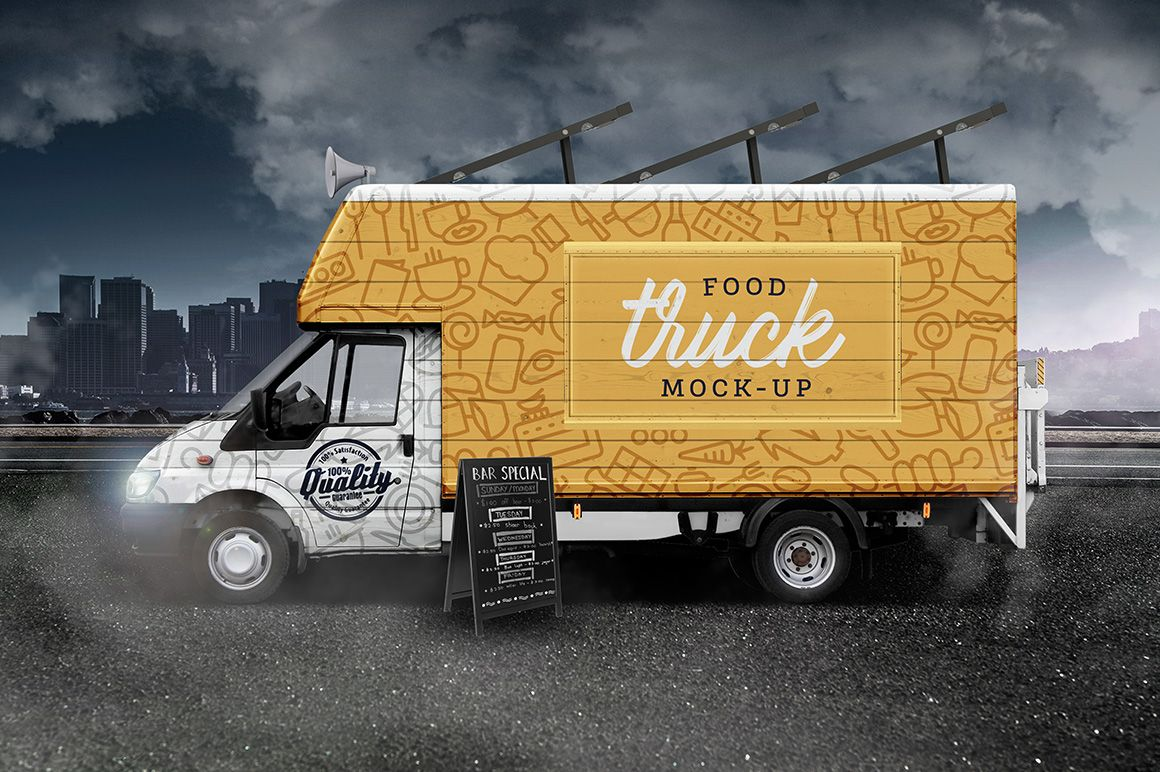 Street Food Truck Van Mockup Mockupslib Food Truck Street