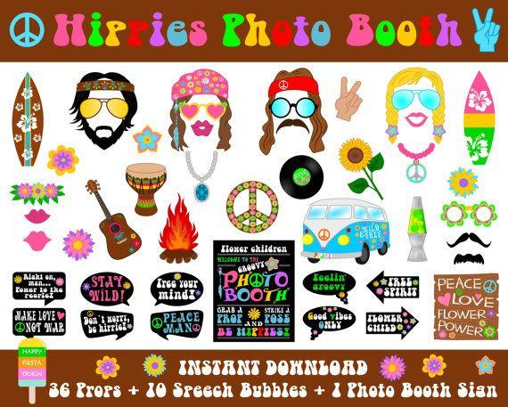 Hippies foto Booth Props – 47 piezas (36 apoyos, 10 ...
