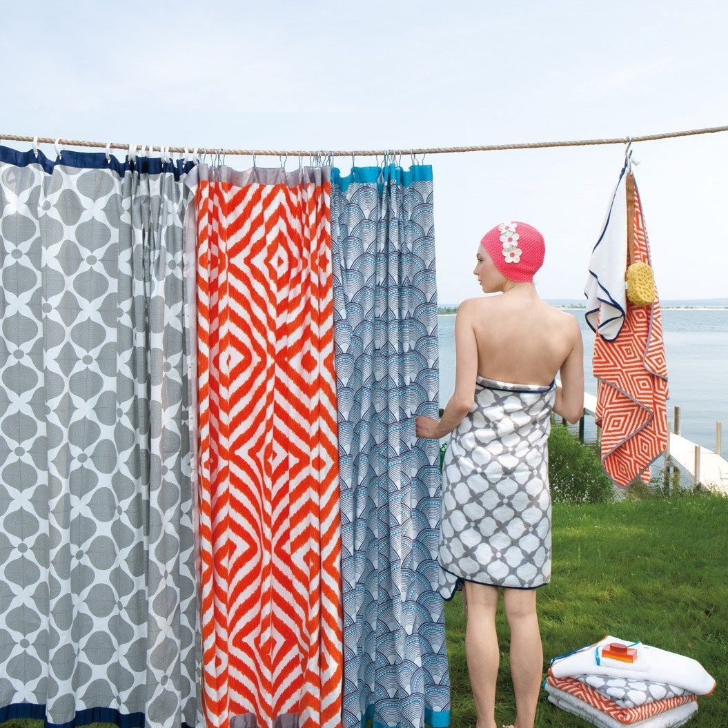 Jonathan Adler Arcade Orange/Grey Shower Curtain   Future homes ...
