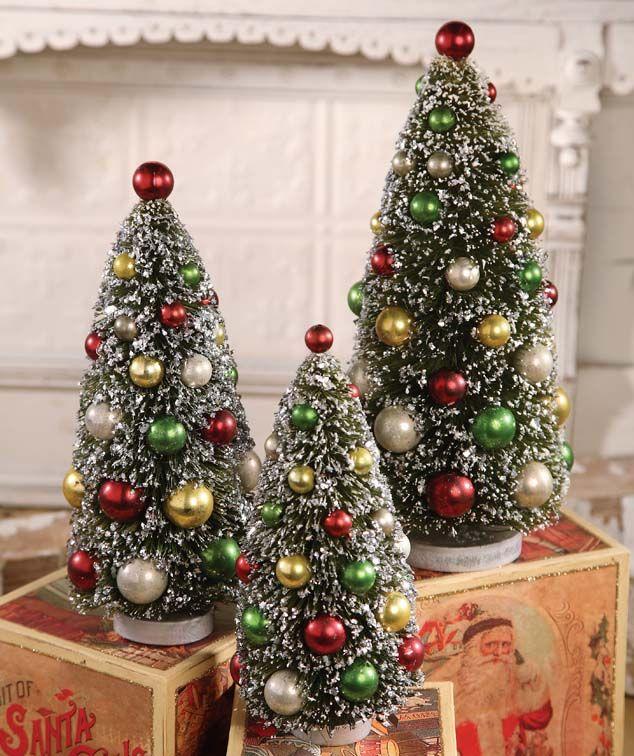 Christmas Bottle Brush Trees Christmas Tree Set Bottle Brush Christmas Trees Christmas Decorations