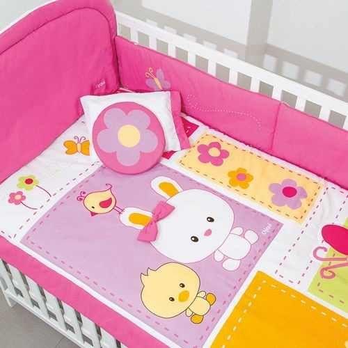 set de edredon para cama cuna corral para bebe conejita coji