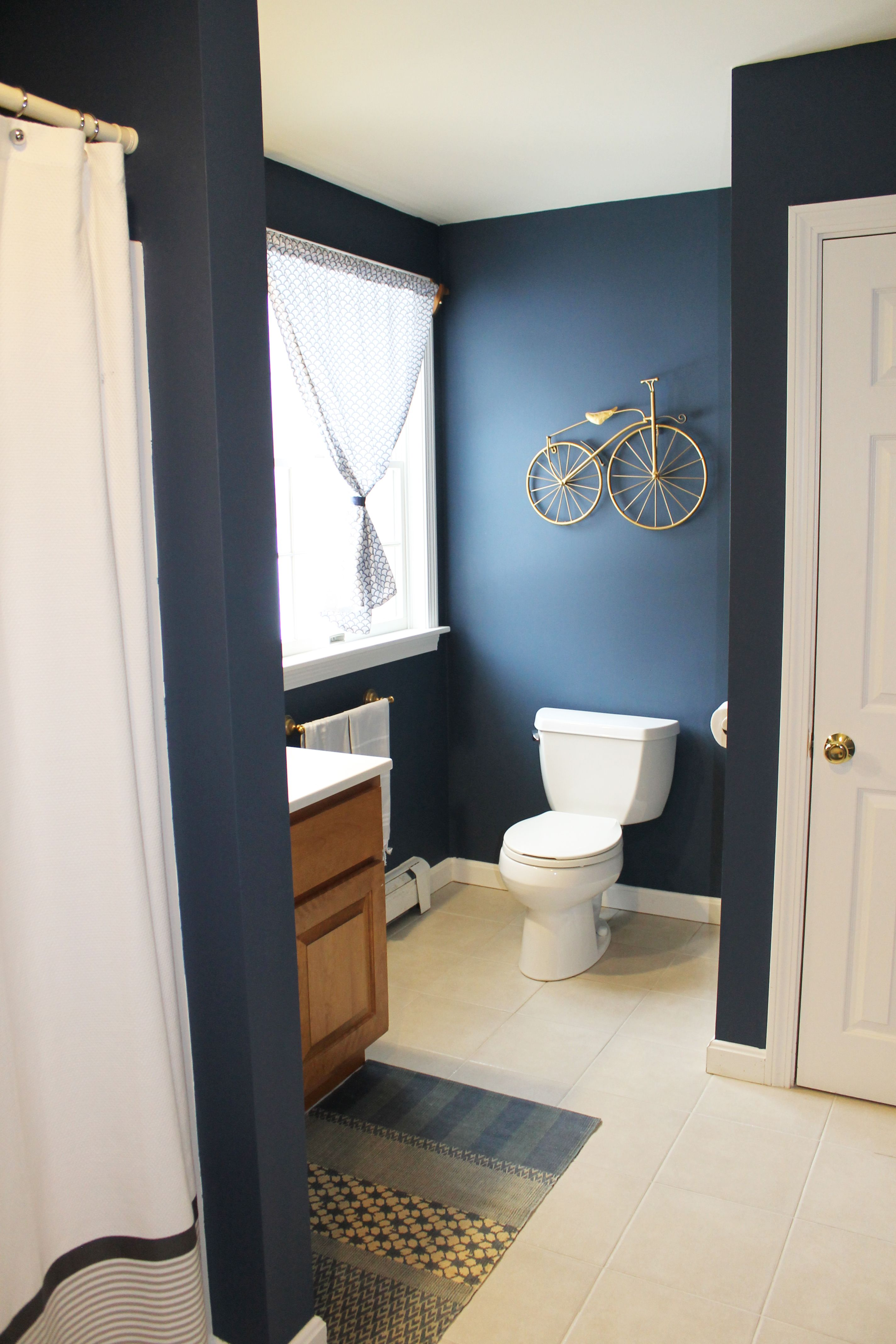 Boys Bathroom Benjamin Moore Newburyport Blue West Elm Rug And Shower Curtain Lauren Lowe Design