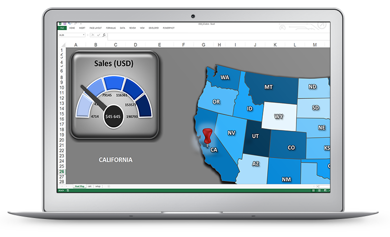 US Sales Map with gauge control | Excel Dashboards | Excel dashboard