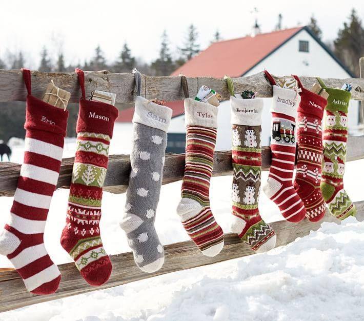 "Personalized Knit Christmas Stockings Large 28"" White Grey Beige ..."
