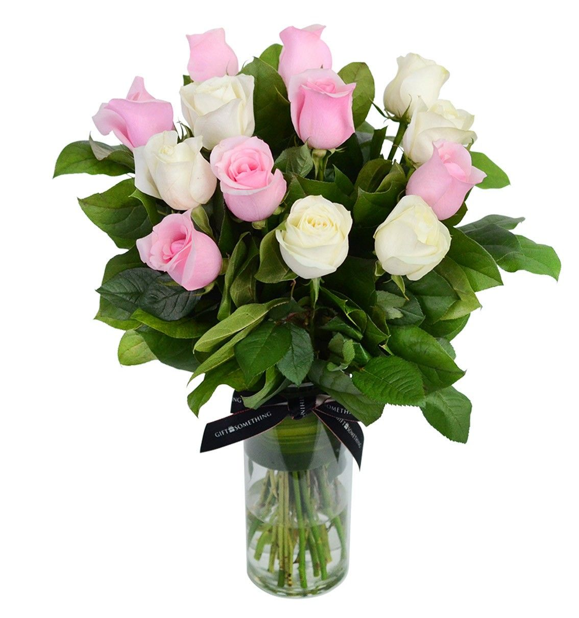 Pink and White Roses with Vase Flowers singapore, Online