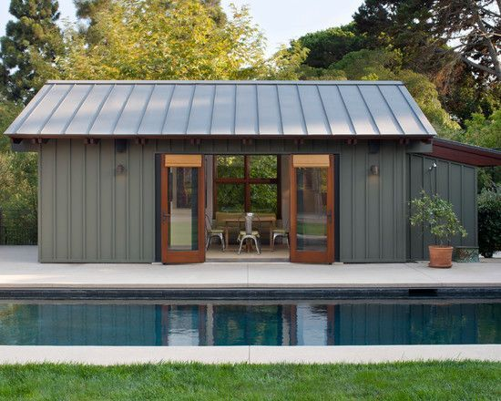 I Like The Board And Batten Siding With The Metal Roof Same Lines Modern Pool House Pool House Designs Wood Siding Exterior