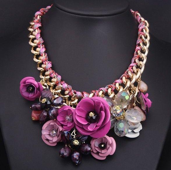 d90ea1935b6b Flores Color de nueva moda cristal collar de la declaración collares  Vintage…