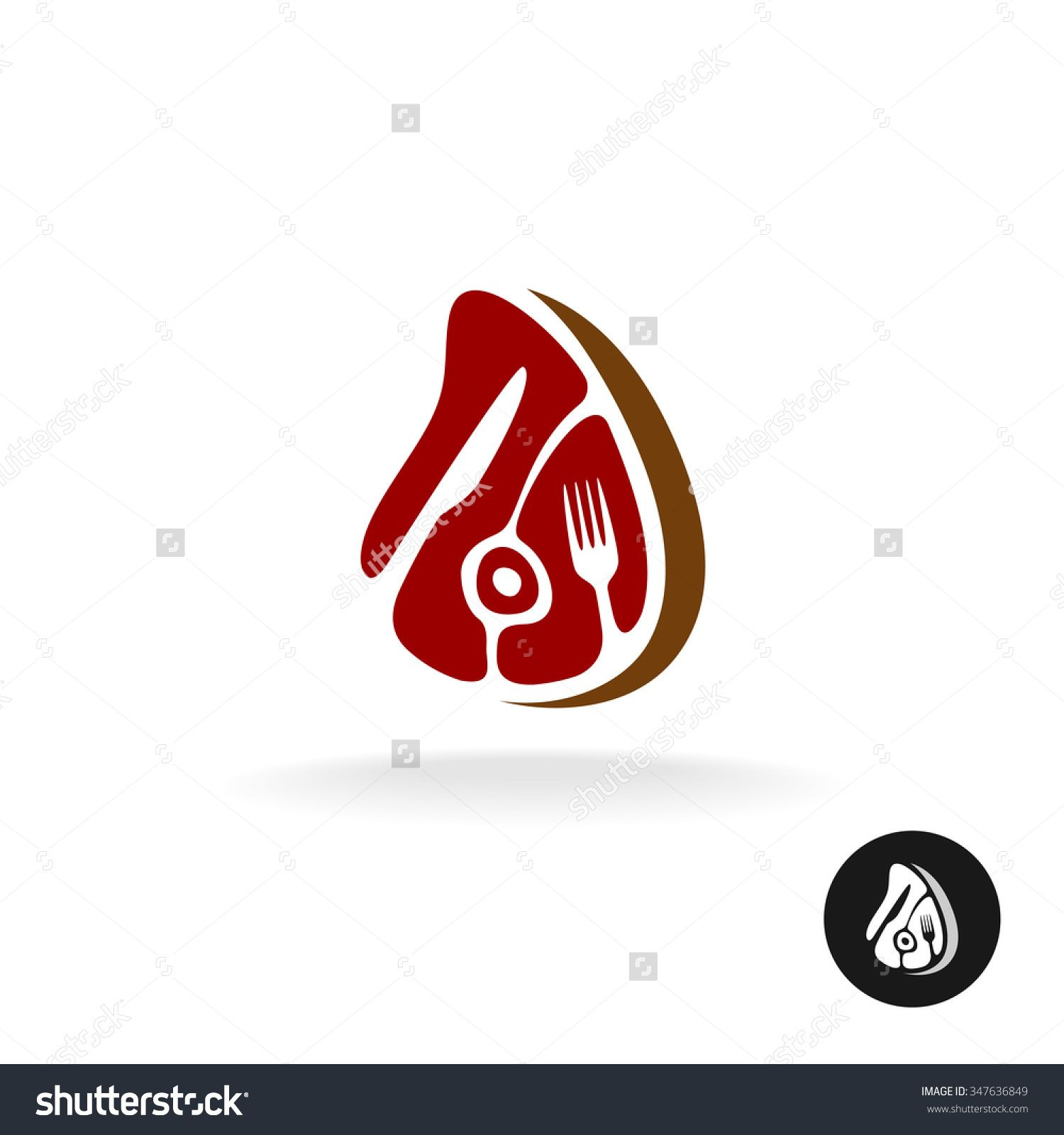 Stock vector meat piece with fork and knife logo restaurant meat stock vector meat piece with fork and knife buycottarizona Image collections