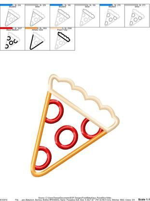 Pizza Slice 4x4, 5x7, 6x10, 8x8 - Baby Kay's Appliques