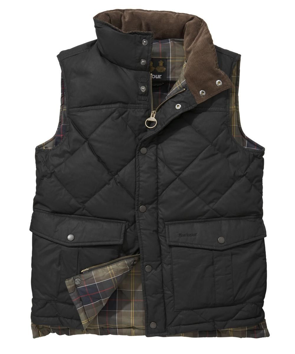 b17913e5d74d Barbour Mens Down Waxed Quilted Gilet - Black