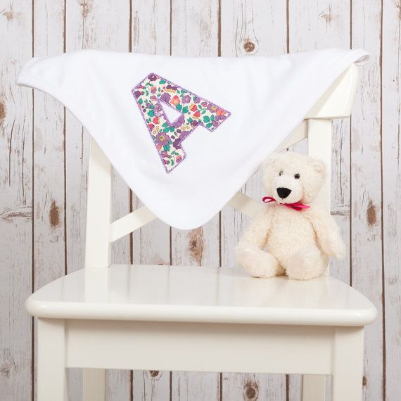 Personalised baby blanket featuring liberty monogram applique the personalised baby blanket featuring liberty monogram applique the perfect new baby gift negle Images