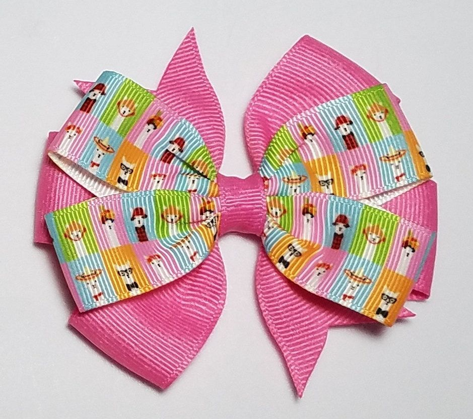 Pretty Llama Pinwheel Hair Bow 4 Purple Blue Pink