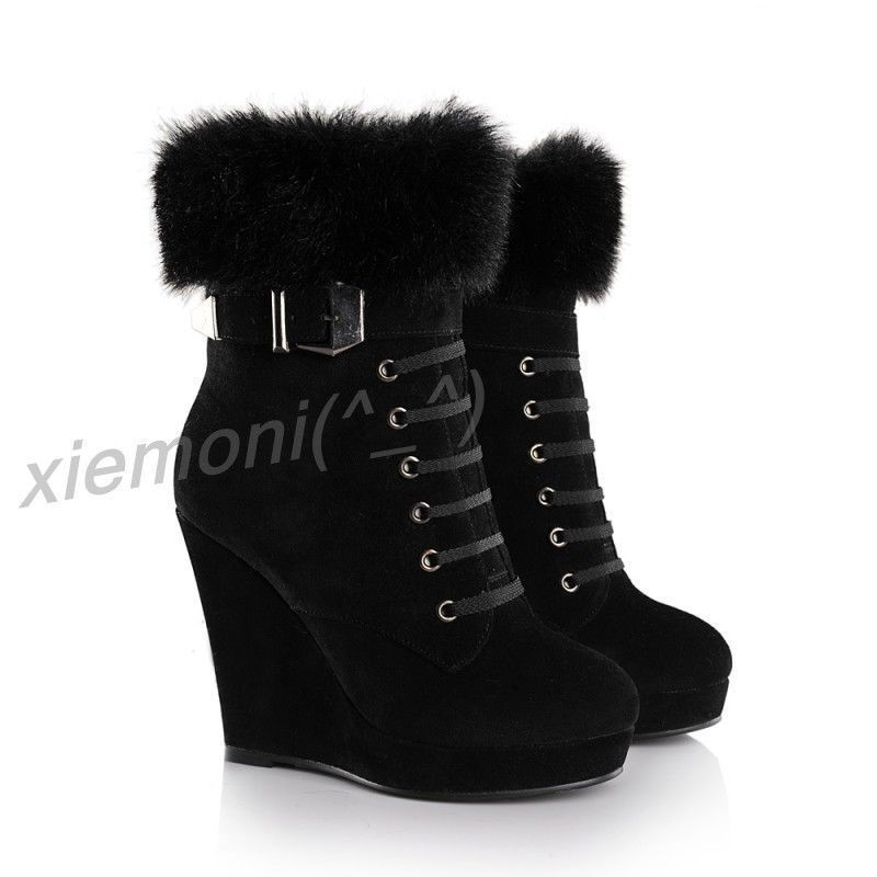 e544e207177 NEW Womens Platform Wedge Winter Warm High Heel Ankle Boots Buckle Shoes  Black 6  Unbranded  AnkleBoots  Party