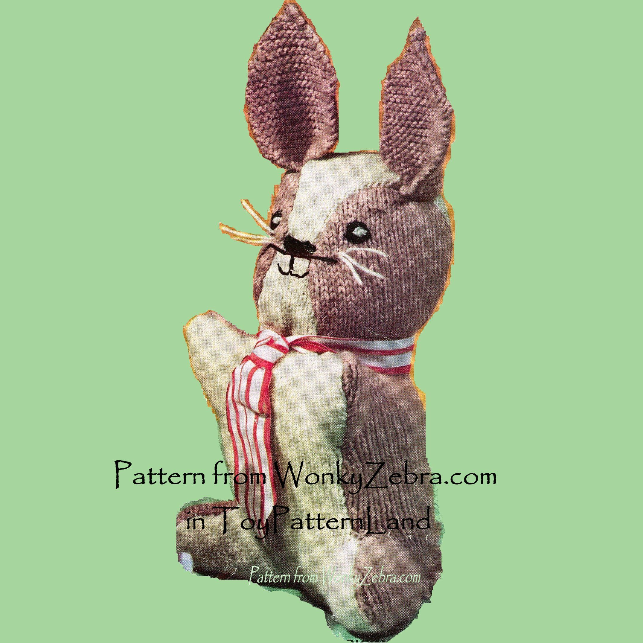 Bunny from WonkyZebra WZ345 knitting pattern; vintage pattern for a bunny and a chick.