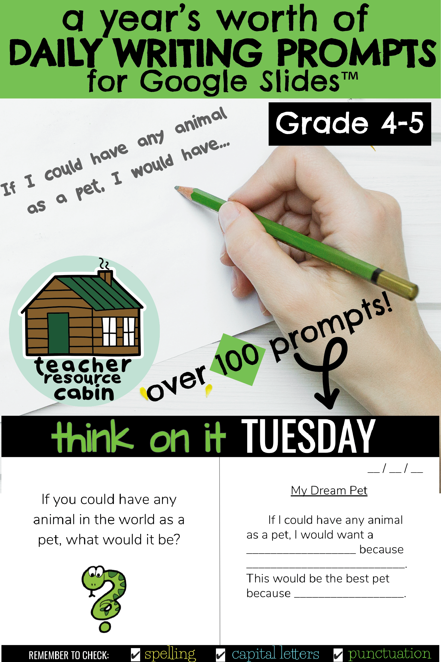Over 100 Daily Bell Work Writing Prompts Grades 4 5