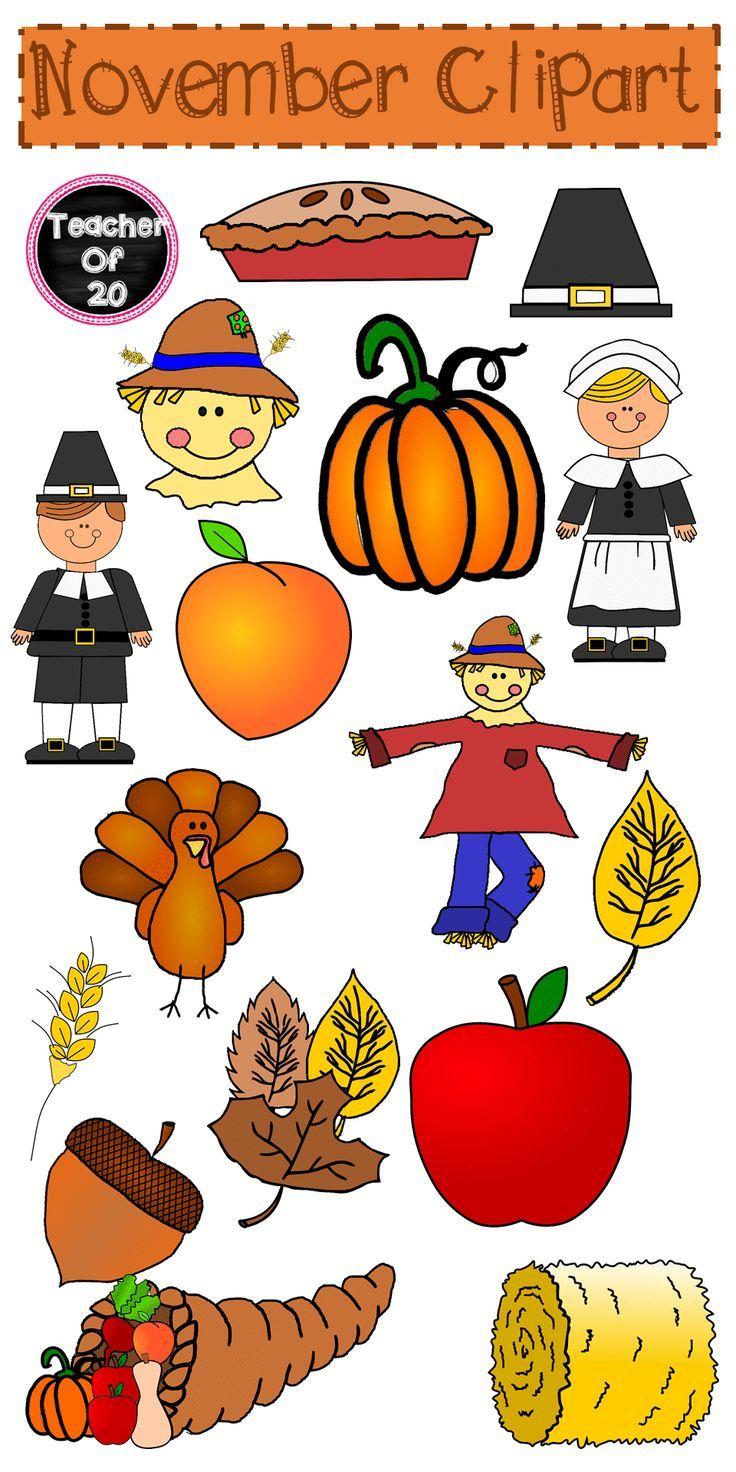November Clipart Pack Clip art, Black n white images