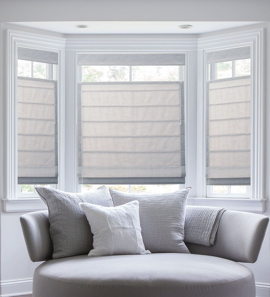 The ultimate guide to blinds for bay windows window bay for Roman shades for bay windows