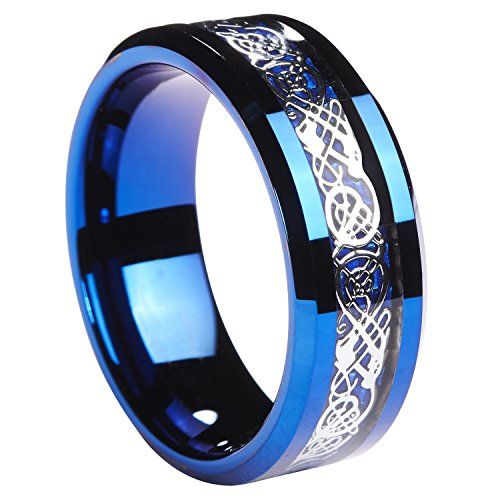 8mm Tungsten Carbide Ring Silvering Celtic Dragon Blue Carbon Fibre Inlay Wedding Band Size 6