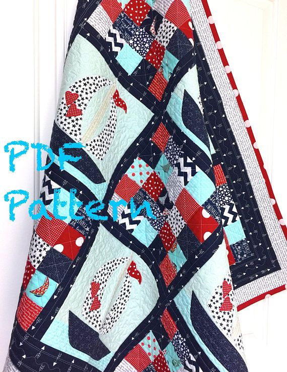 Sailboat Baby Quilt Pattern, Quilt Pattern, Nautical baby Quilt ... : nautical quilts patterns - Adamdwight.com