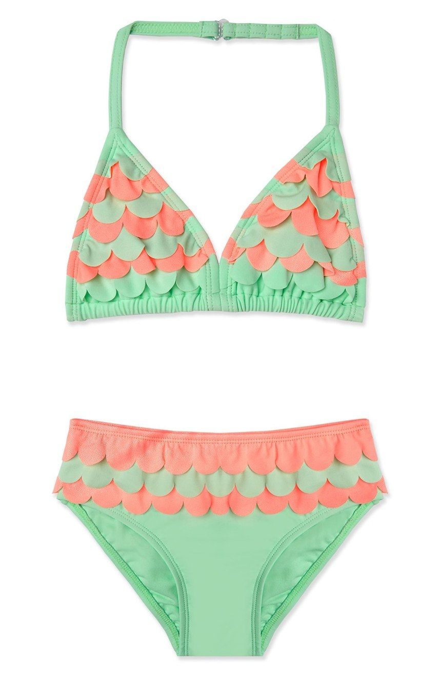 Iridescent scalloped trim enhances the under-the-sea feel of this whimsical two-piece swimsuit that's perfect for the little mermaid.