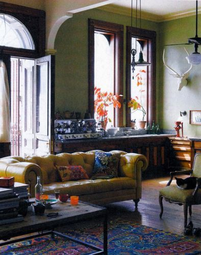 fabulous anthropologie inspired living room | Mustard yellow leather with wood, royal blue, orange ...