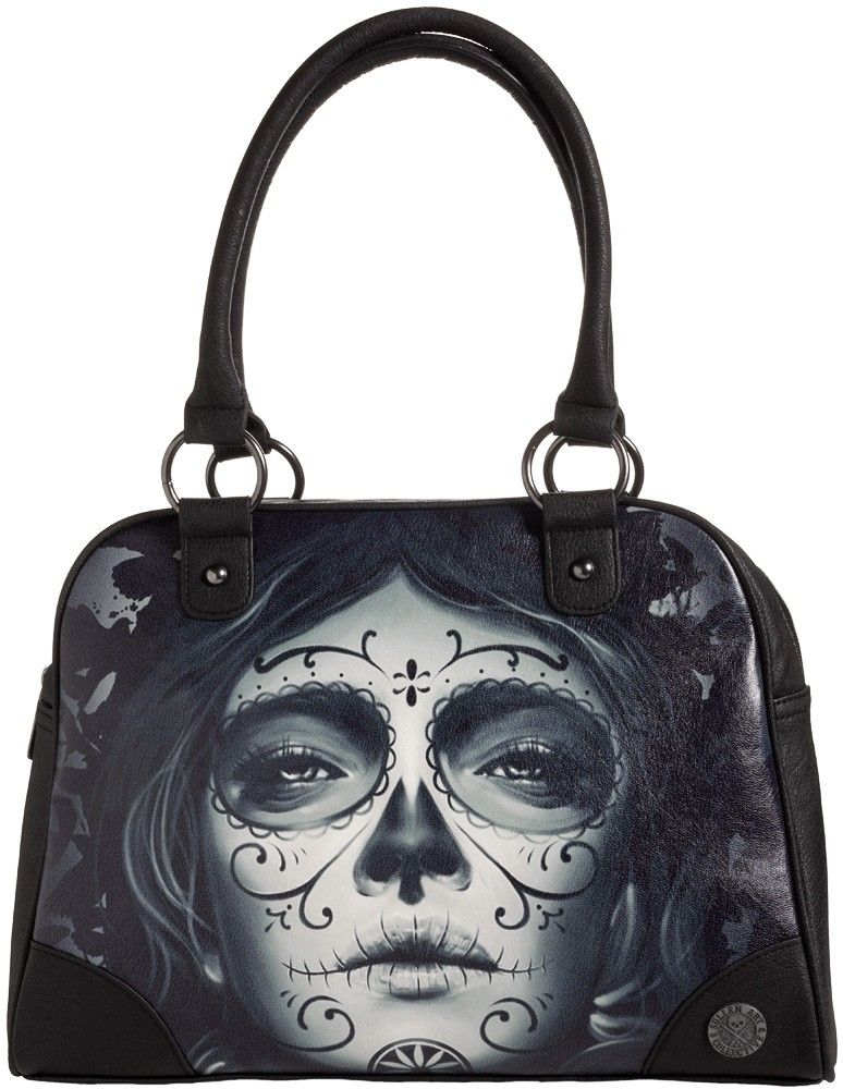 SULLEN MY LOVE BOWLER BAG Sullen introduces the My Love bowler bag! This faux leather bowler with oversized Day of the Dead print on one side features easy grip handles, zip top & enough room inside to tote all yer goods around. $66.00 #sullen #purse #bowlerbag