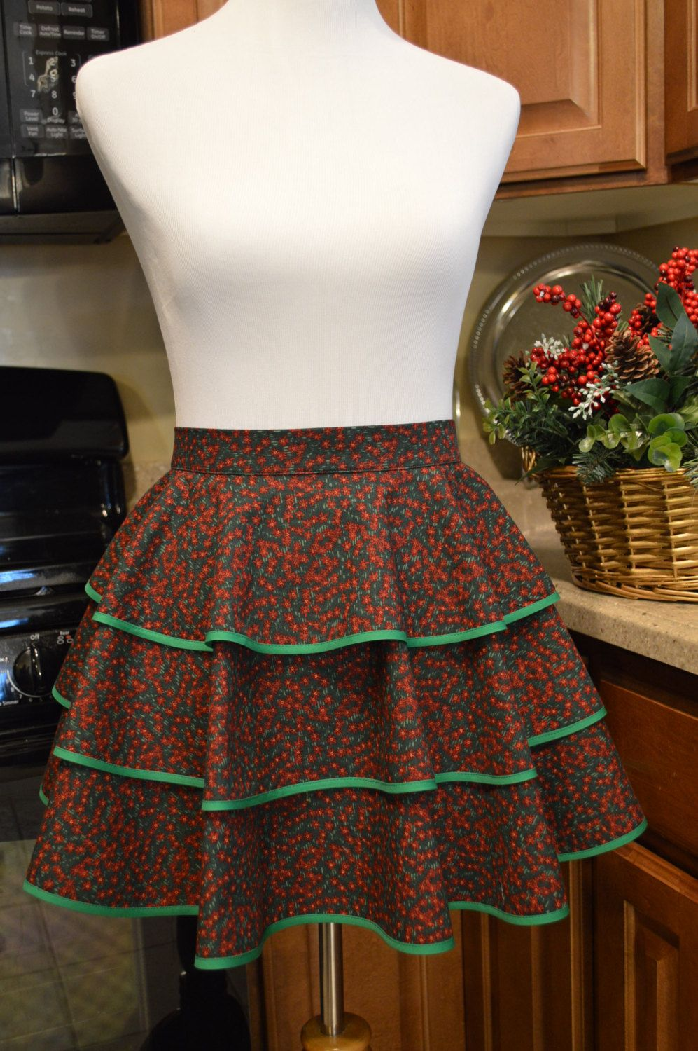 Christmas Half Apron Vintage Style Apron, 3 Tiered Apron, Hostess Apron Size Small 10 - 12 Ready to Ship by NancysNeedfulThings on Etsy