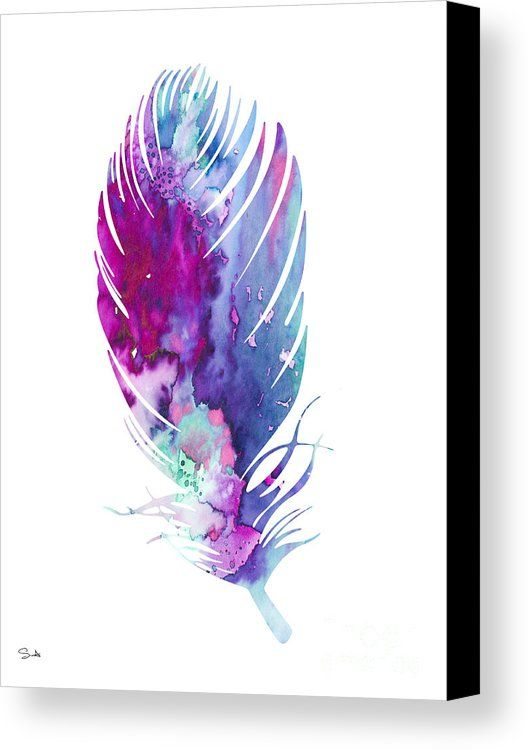 Feathers Canvas Print featuring the painting Feather 6 by Luke and Slavi