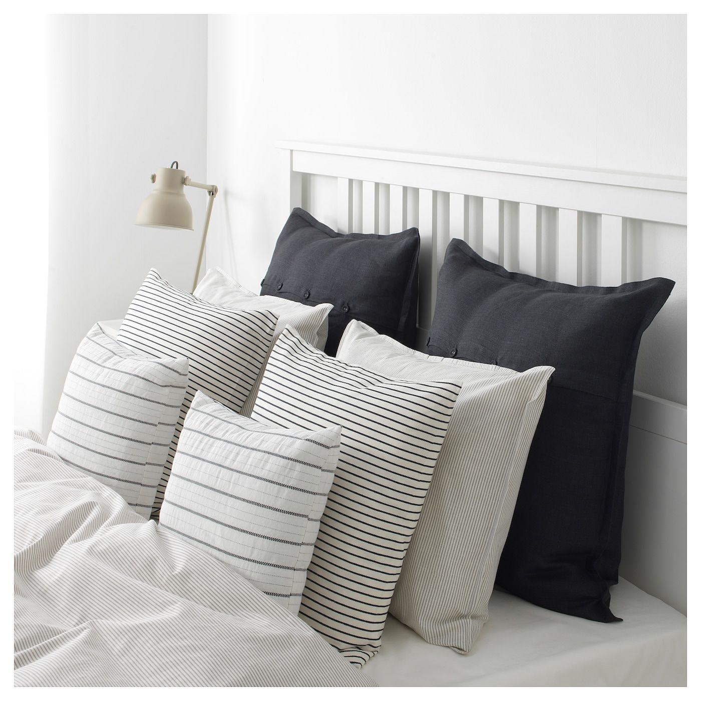 Ingalill Cushion Cover White Dark Gray Stripe Ikea In 2020 Dark Grey Bedding Grey And White Bedding Pinstripe Bedding