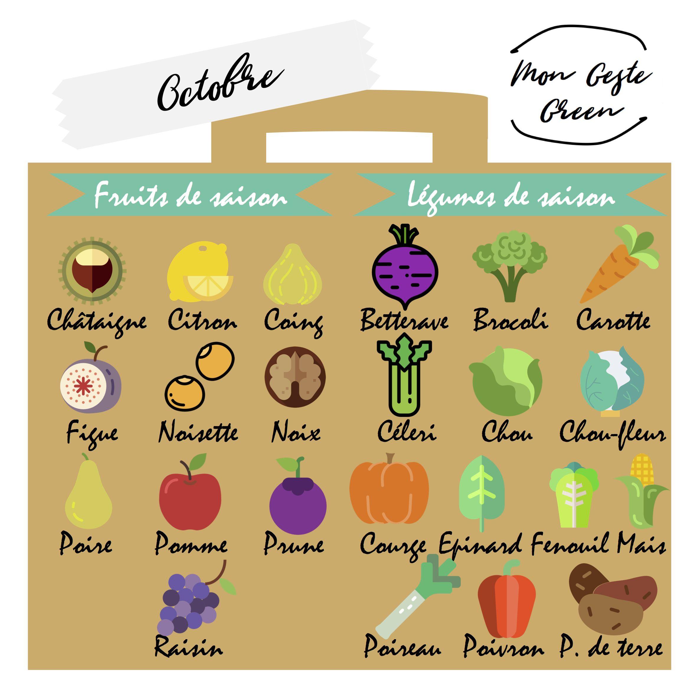 Calendrier Des Fruits Et Legumes De Saison Octobre Pour Chaque Mois De L Annee Un Aimant Vous Rappelle Sur Votre Refrigerateur Les Fruits Et L Etsy Food Map