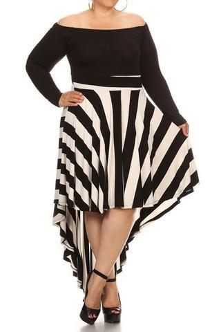 Striped Dip Hem Off The Shoulder Plus Size Dress Curvy Fashion