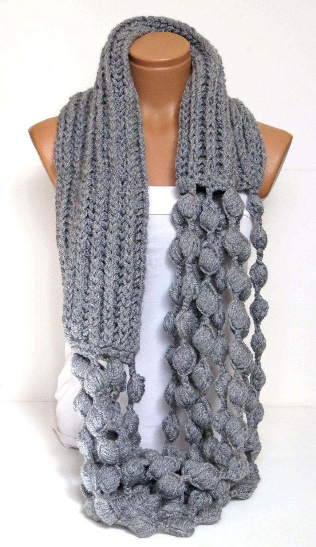 Infinity Schal, klobige unendlich Schal, grau Schal, stricken Schal ...
