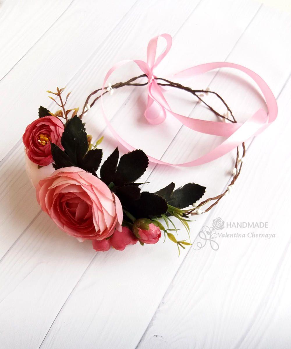 Peach Flower Crown Bridal Wreath Hair Boho Silk Flowers Crown