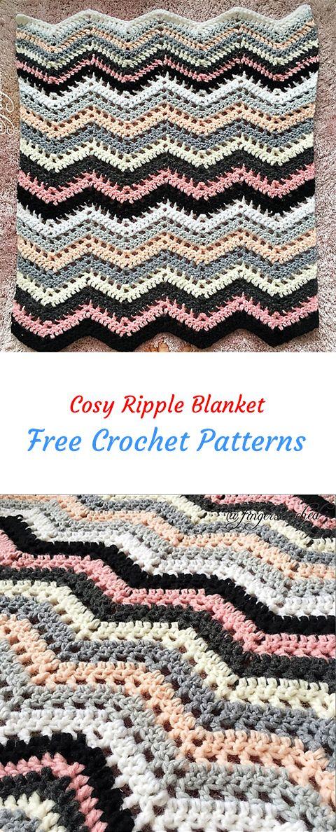 Cosy Ripple Blanket Free Crochet Pattern | Häkeln | Pinterest | Free ...