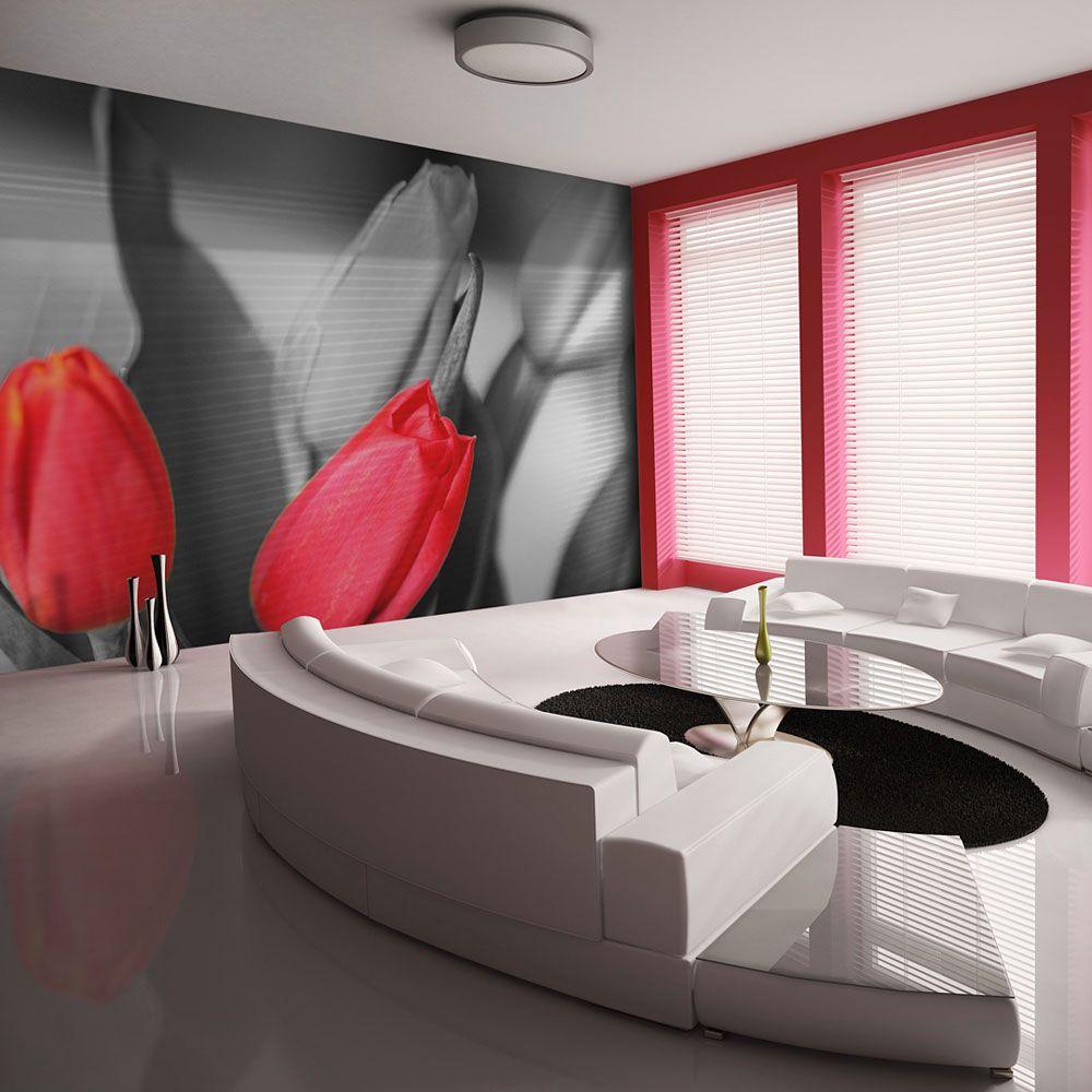 papier peint tulipes rouges sur fond noir et blanc
