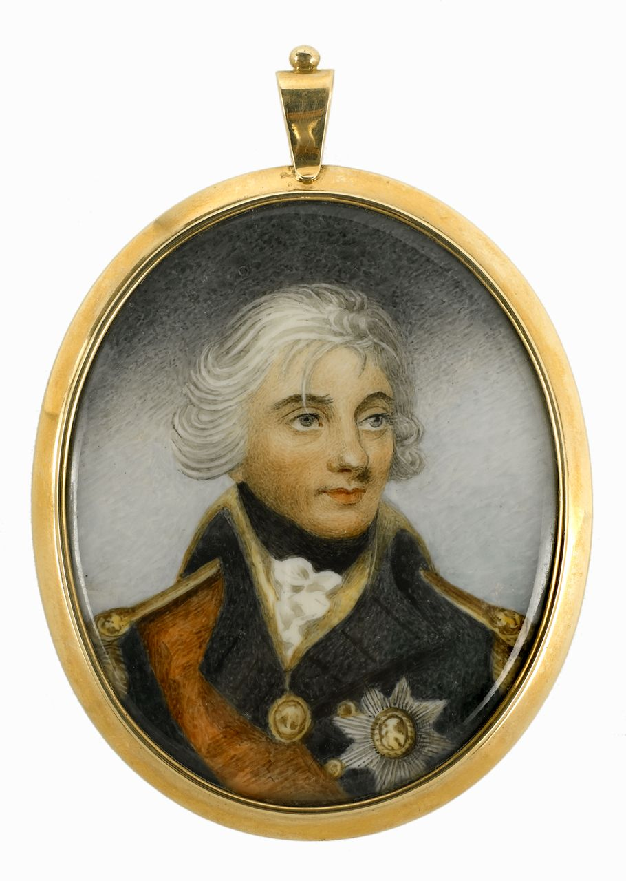 Early 19th century miniature painting depicting Vice-Admiral Horatio Nelson (1758-1805), head and shoulders, in uniform, facing slightly right. He wears rear-admiral's undress uniform, the star and ribbon of the Bath and one Naval gold medal. The miniature is painted on ivory in a glazed gold frame with a compartment at the back lined with silk to contain a lock of hair or other memento. It is a copy of the 1800 miniature by Robert Bowyer.