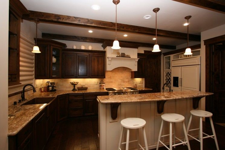 Dark Wood Country Kitchen kitchen, two tone kitchen cabinets agreeable two tone kitchen