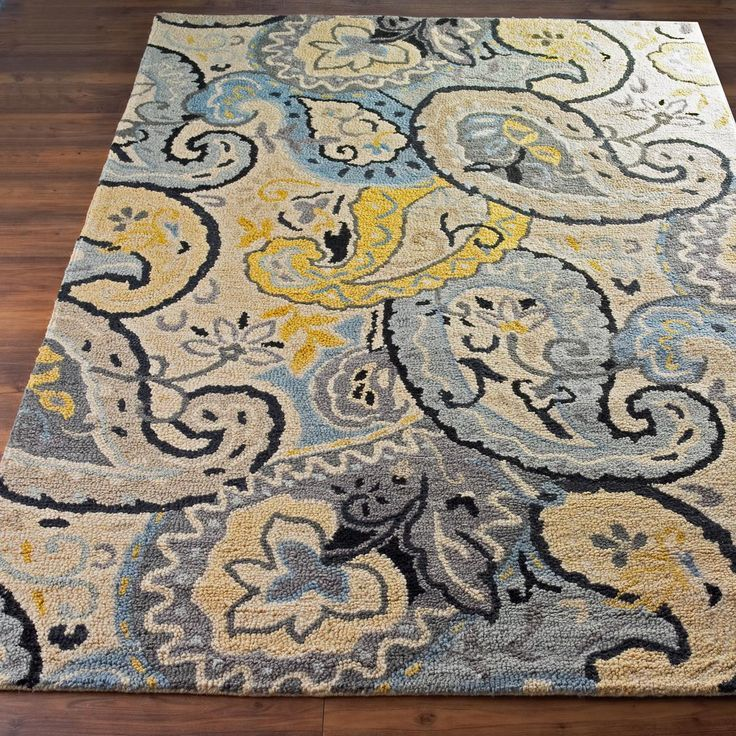 yellow and blue paisley rug accent rug farmhouse rug - Blue And Yellow Bedroom Rugs